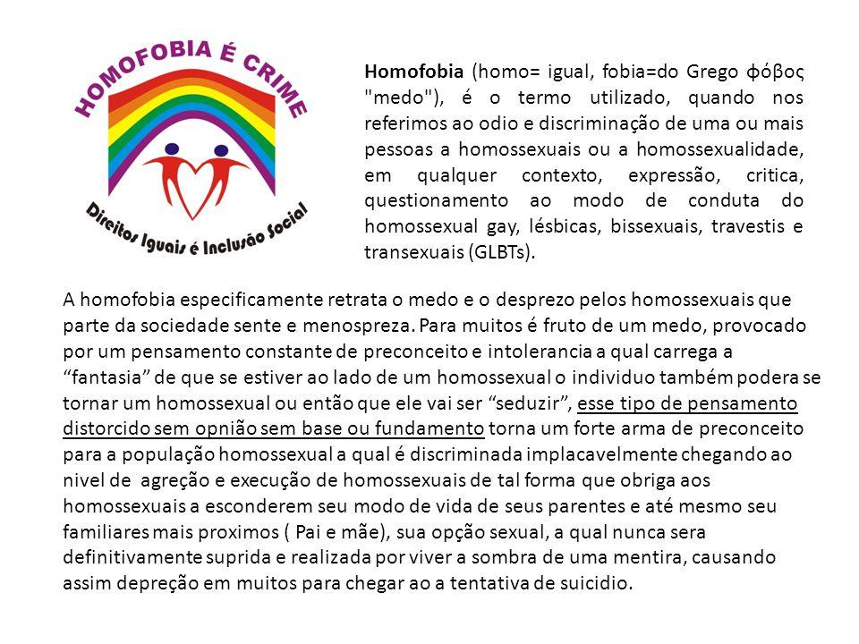 Homofobia (homo= igual, fobia=do Grego φόβος medo ), é o termo utilizado, quando nos referimos ao odio e discriminação de uma ou mais pessoas a homossexuais ou a homossexualidade, em qualquer contexto, expressão, critica, questionamento ao modo de conduta do homossexual gay, lésbicas, bissexuais, travestis e transexuais (GLBTs).