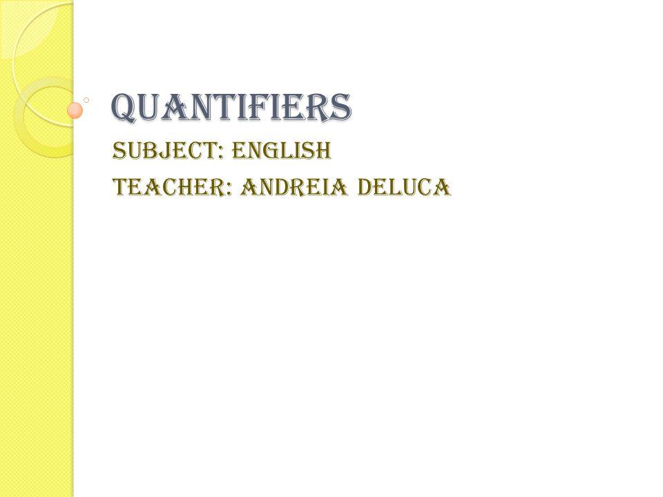 Subject: English Teacher: Andreia Deluca