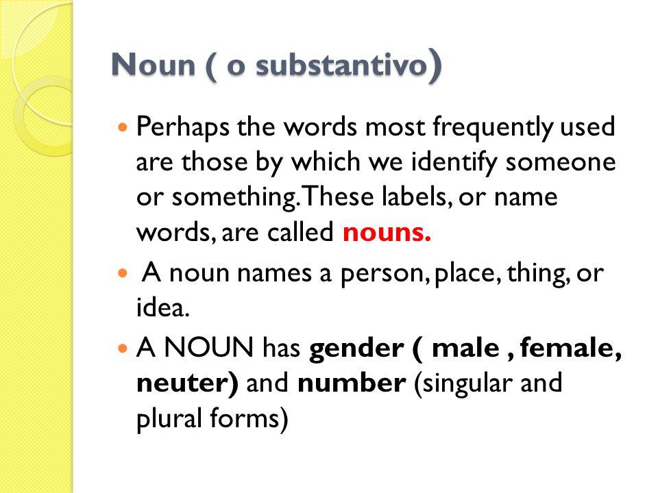 Noun ( o substantivo)