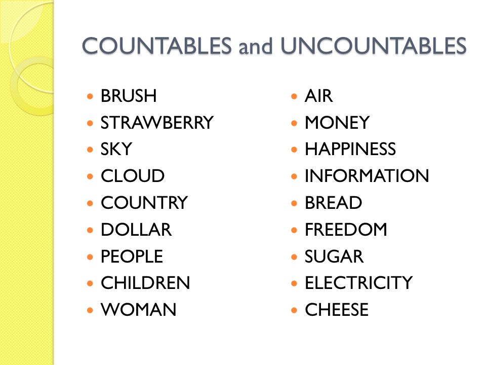 COUNTABLES and UNCOUNTABLES