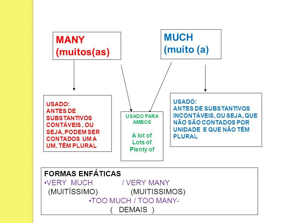 MUCH (muito (a) MANY (muitos(as) FORMAS ENFÁTICAS