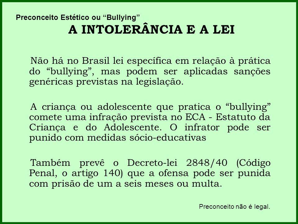 Preconceito Estético ou Bullying A INTOLERÂNCIA E A LEI