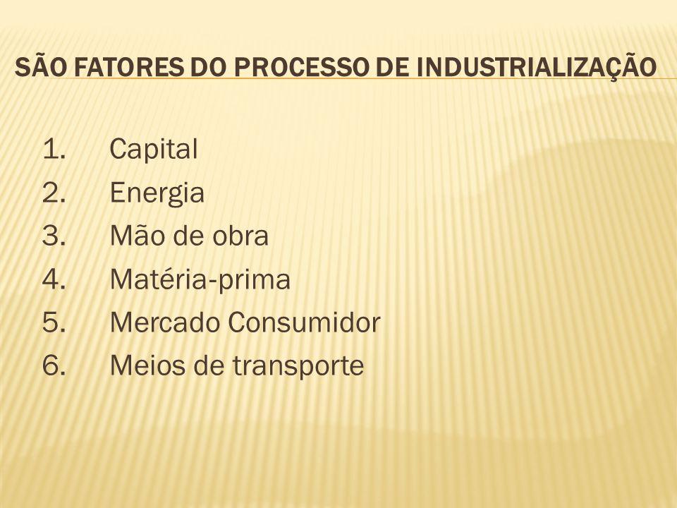 São fatores do processo de industrialização