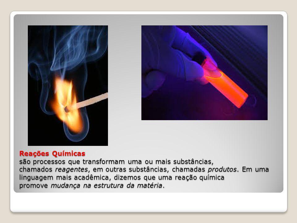 Reações Químicas são processos que transformam uma ou mais substâncias, chamados reagentes, em outras substâncias, chamadas produtos.