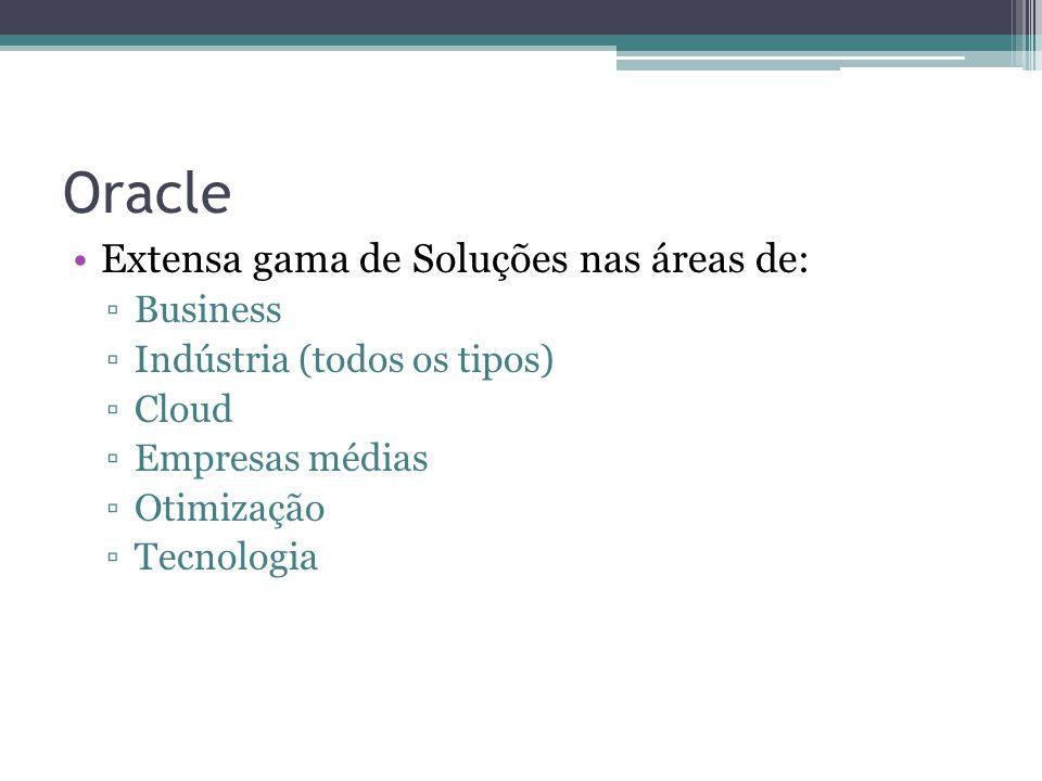 Oracle Extensa gama de Soluções nas áreas de: Business