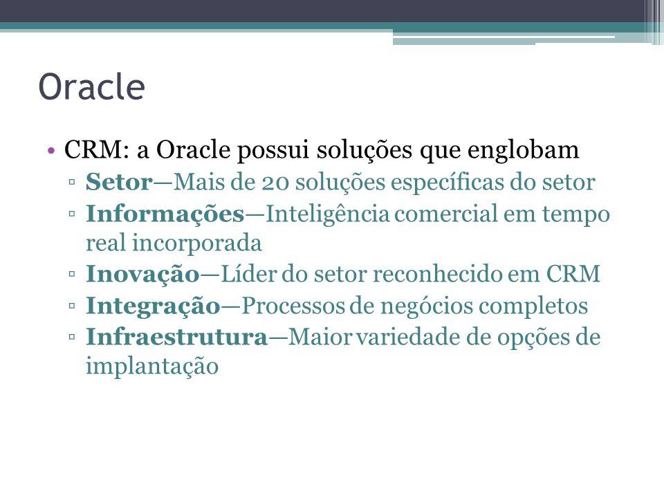 Oracle CRM: a Oracle possui soluções que englobam