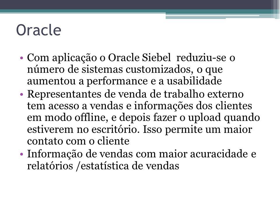 Oracle Com aplicação o Oracle Siebel reduziu-se o número de sistemas customizados, o que aumentou a performance e a usabilidade.