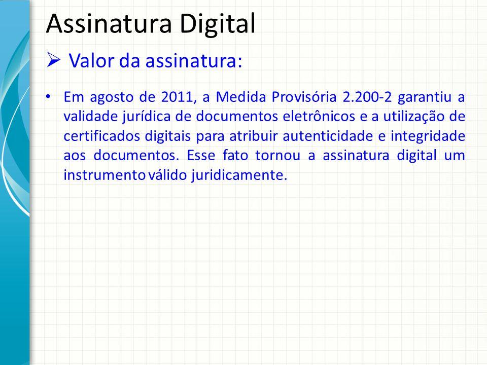 Assinatura Digital Valor da assinatura: