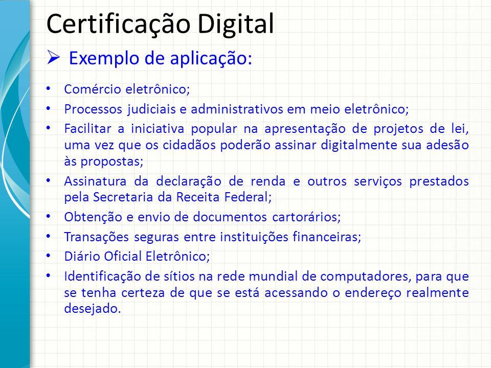 Certificação Digital Exemplo de aplicação: Comércio eletrônico;