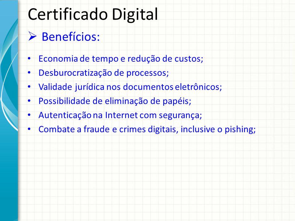Certificado Digital Benefícios: Economia de tempo e redução de custos;