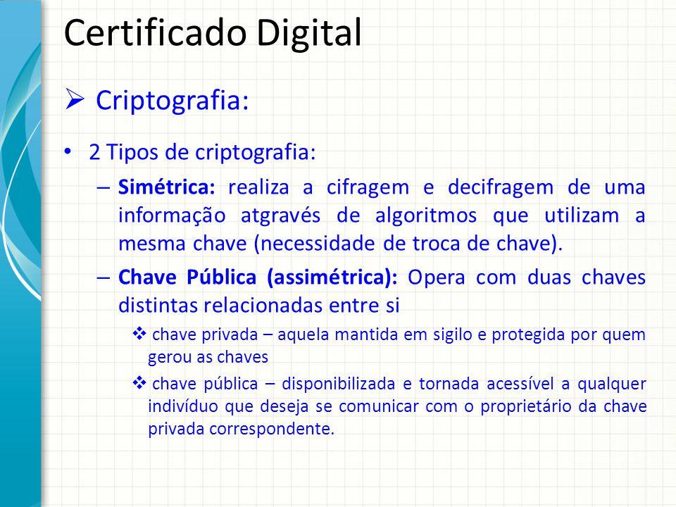 Certificado Digital Criptografia: 2 Tipos de criptografia: