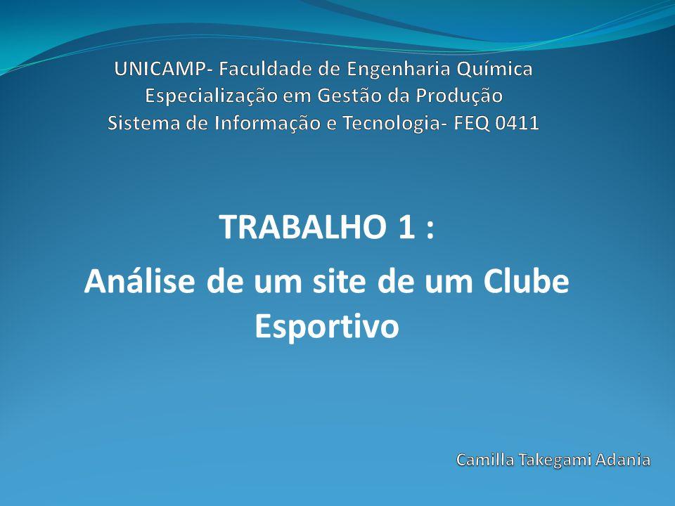 TRABALHO 1 : Análise de um site de um Clube Esportivo