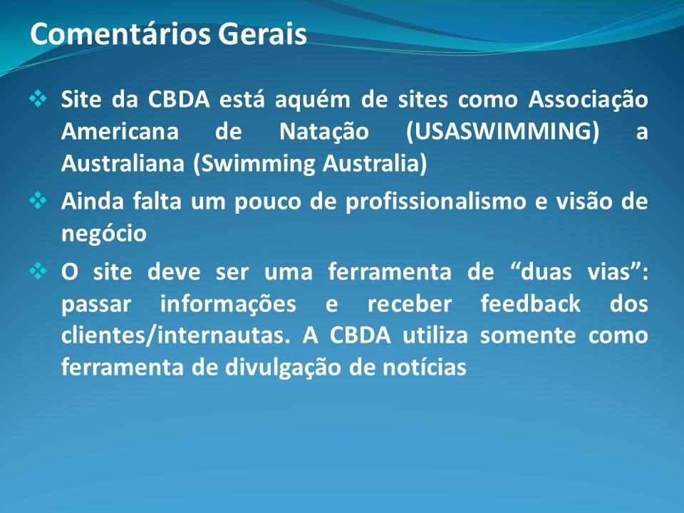 Comentários Gerais Site da CBDA está aquém de sites como Associação Americana de Natação (USASWIMMING) a Australiana (Swimming Australia)