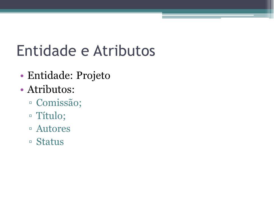 Entidade e Atributos Entidade: Projeto Atributos: Comissão; Título;