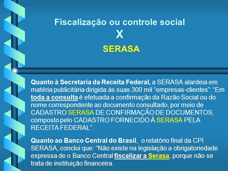 Fiscalização ou controle social X SERASA