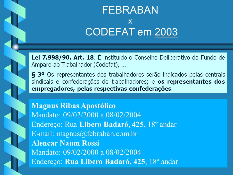 FEBRABAN x CODEFAT em 2003 Magnus Ribas Apostólico