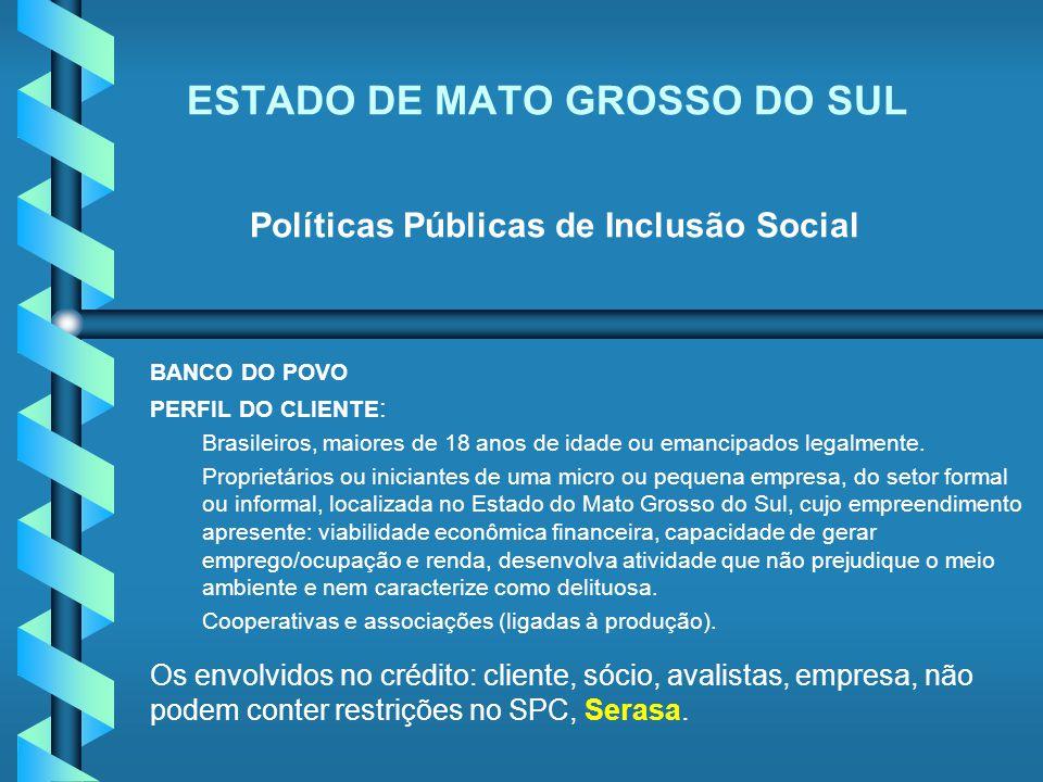 ESTADO DE MATO GROSSO DO SUL Políticas Públicas de Inclusão Social