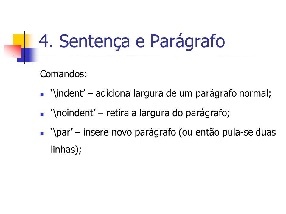 4. Sentença e Parágrafo Comandos:
