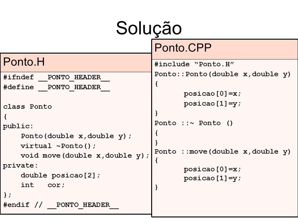 Solução Ponto.CPP Ponto.H #include Ponto.H