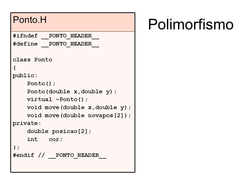 Polimorfismo Ponto.H #ifndef __PONTO_HEADER__ #define __PONTO_HEADER__