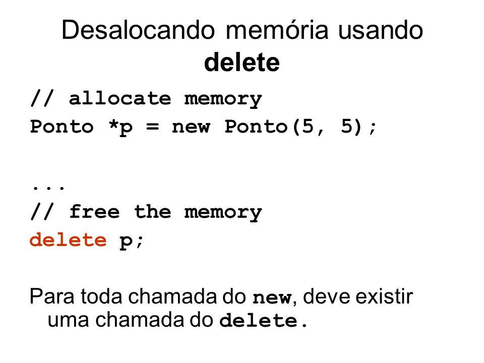 Desalocando memória usando delete