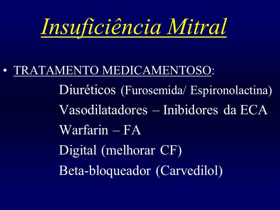 Insuficiência Mitral Vasodilatadores – Inibidores da ECA Warfarin – FA