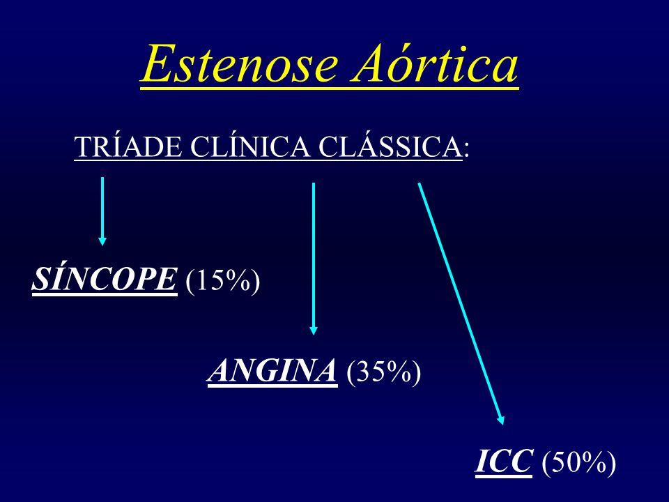 Estenose Aórtica ICC (50%) TRÍADE CLÍNICA CLÁSSICA: SÍNCOPE (15%)