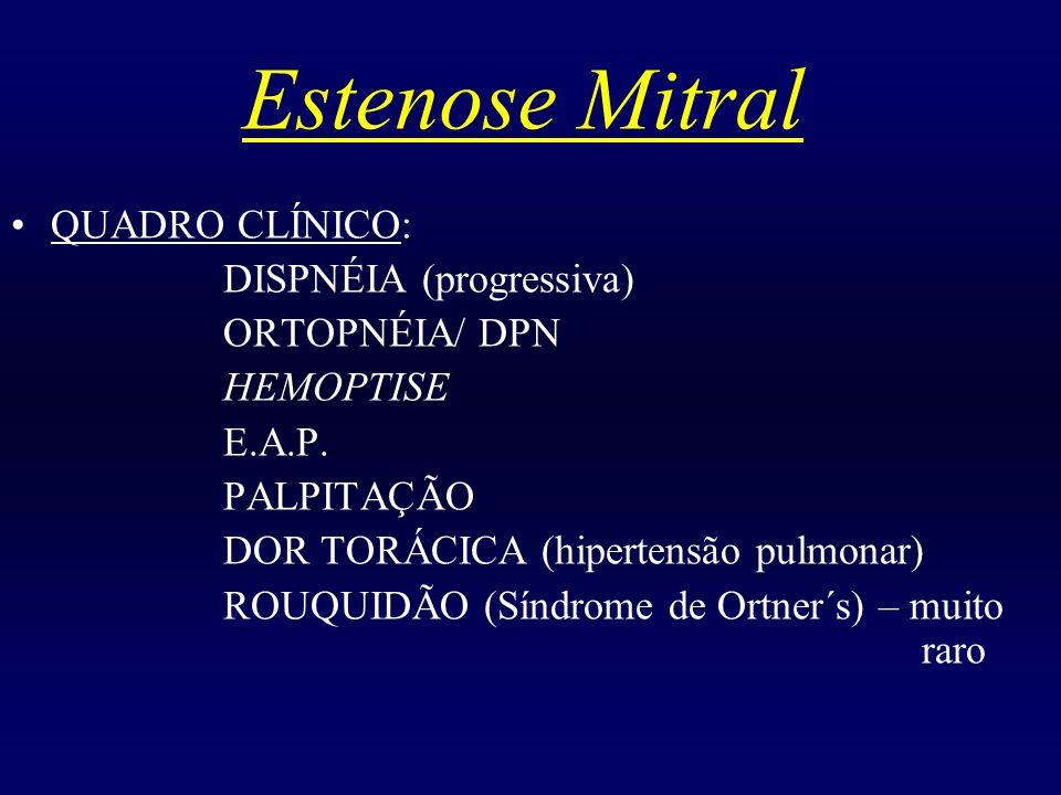 Estenose Mitral QUADRO CLÍNICO: DISPNÉIA (progressiva) ORTOPNÉIA/ DPN