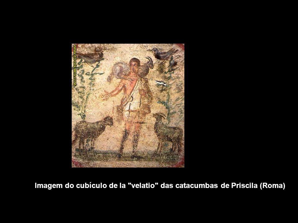 Imagem do cubículo de la velatio das catacumbas de Priscila (Roma)