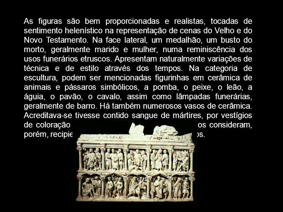 As figuras são bem proporcionadas e realistas, tocadas de sentimento helenístico na representação de cenas do Velho e do Novo Testamento.