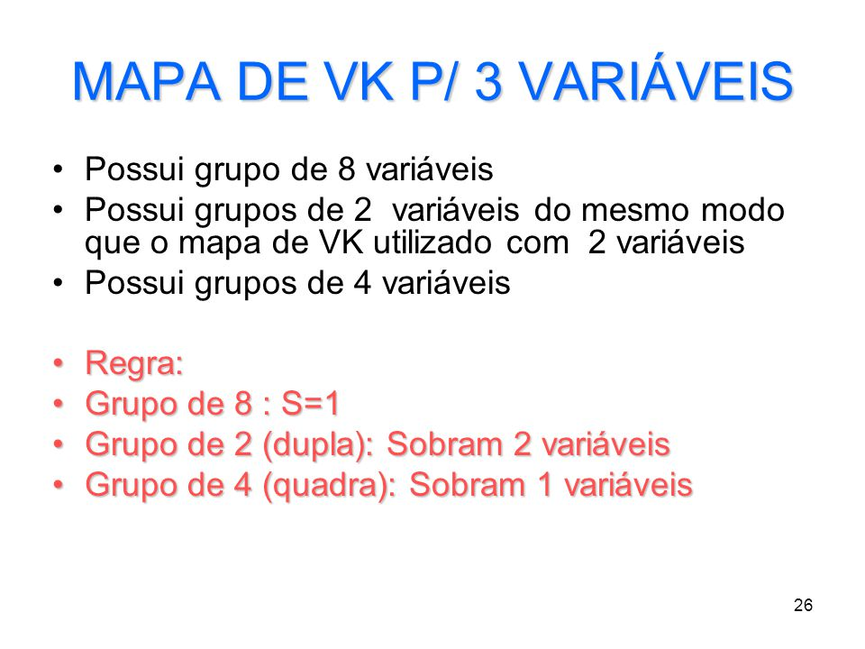 MAPA DE VK P/ 3 VARIÁVEIS Possui grupo de 8 variáveis