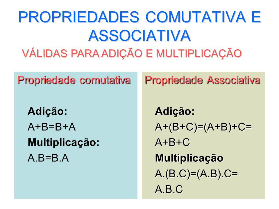 PROPRIEDADES COMUTATIVA E ASSOCIATIVA