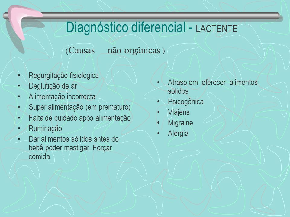 Diagnóstico diferencial - LACTENTE