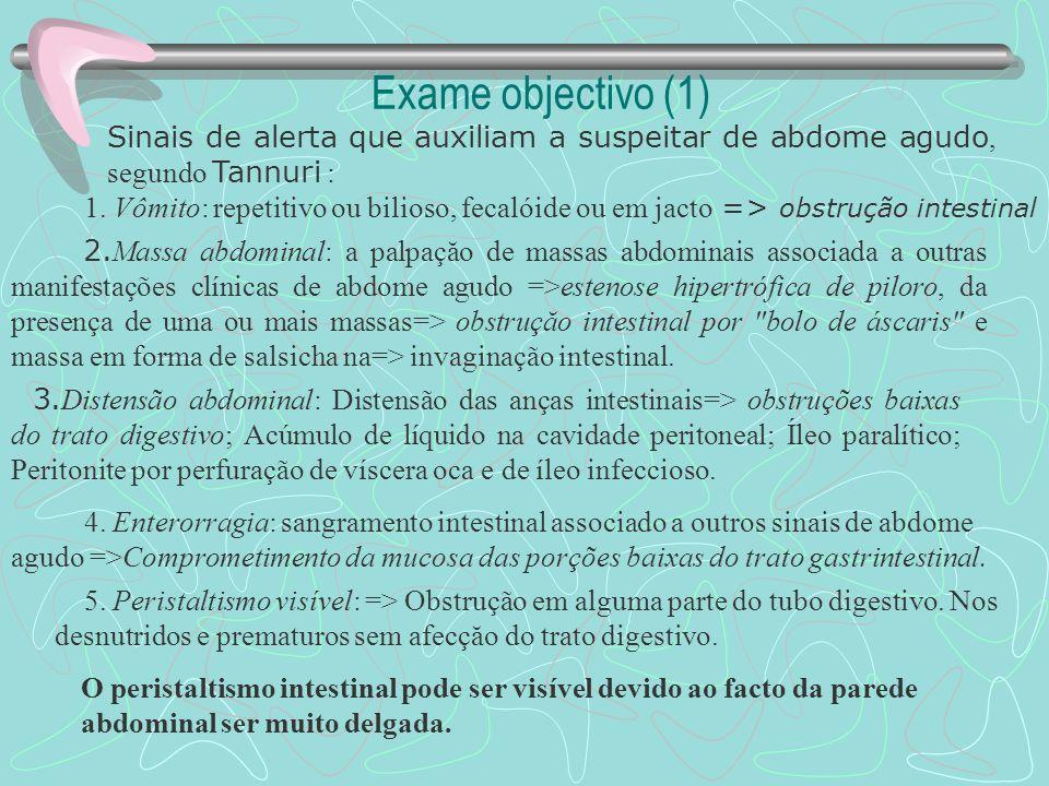 Exame objectivo (1) Sinais de alerta que auxiliam a suspeitar de abdome agudo, segundo Tannuri :