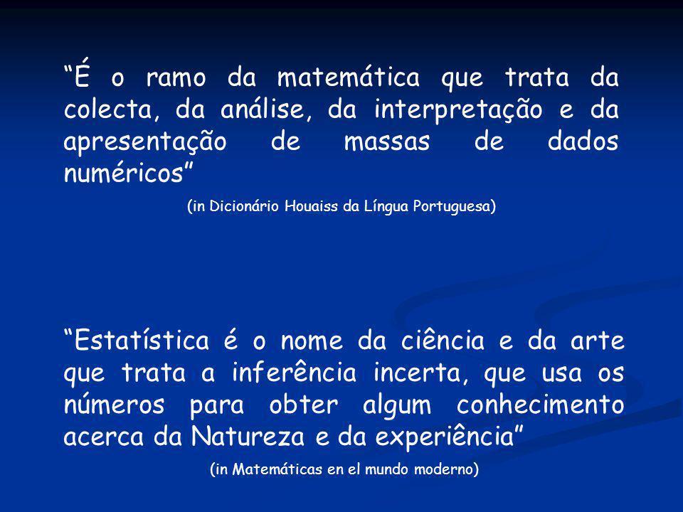 É o ramo da matemática que trata da colecta, da análise, da interpretação e da apresentação de massas de dados numéricos