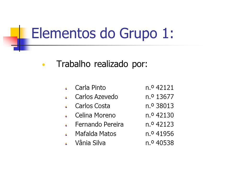 Elementos do Grupo 1: Trabalho realizado por: Carla Pinto n.º 42121