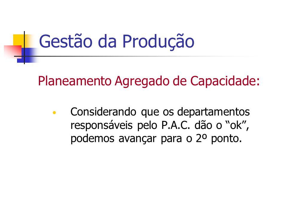 Gestão da Produção Planeamento Agregado de Capacidade: