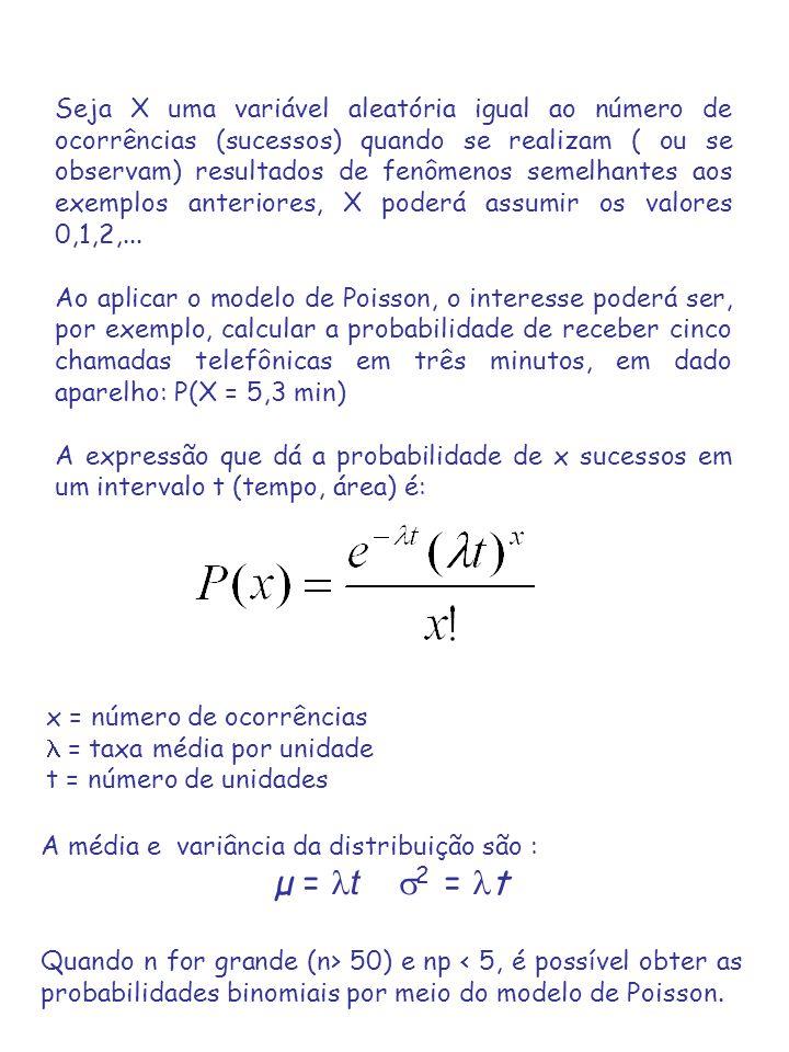 Seja X uma variável aleatória igual ao número de ocorrências (sucessos) quando se realizam ( ou se observam) resultados de fenômenos semelhantes aos exemplos anteriores, X poderá assumir os valores 0,1,2,...