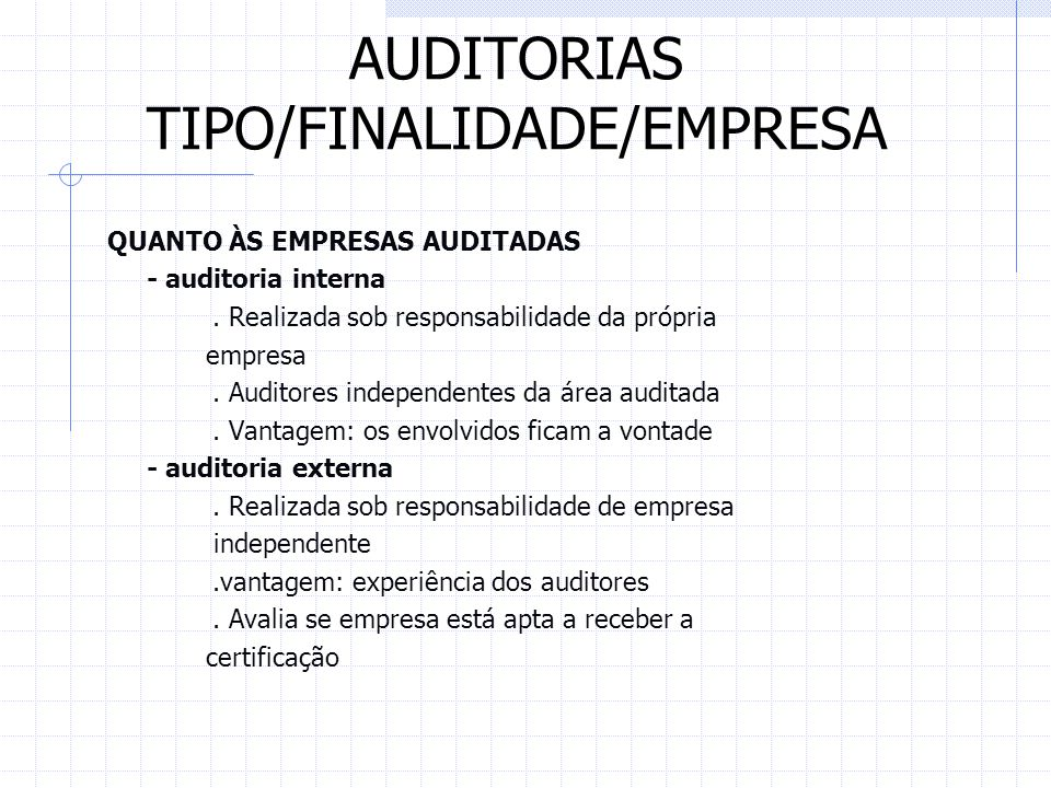 AUDITORIAS TIPO/FINALIDADE/EMPRESA