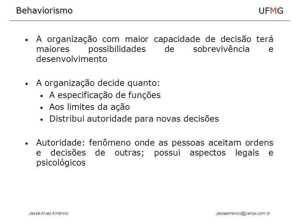 A organização com maior capacidade de decisão terá maiores possibilidades de sobrevivência e desenvolvimento