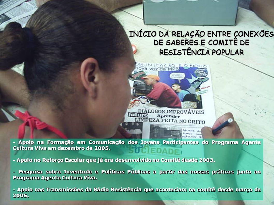 INÍCIO DA RELAÇÃO ENTRE CONEXÕES DE SABERES E COMITÊ DE RESISTÊNCIA POPULAR