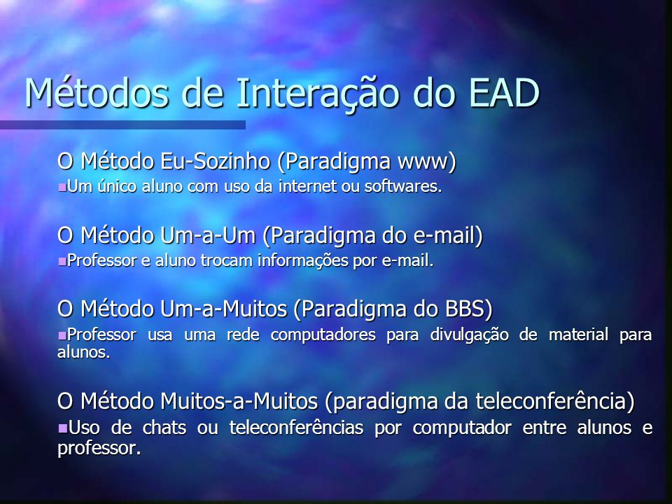 Métodos de Interação do EAD