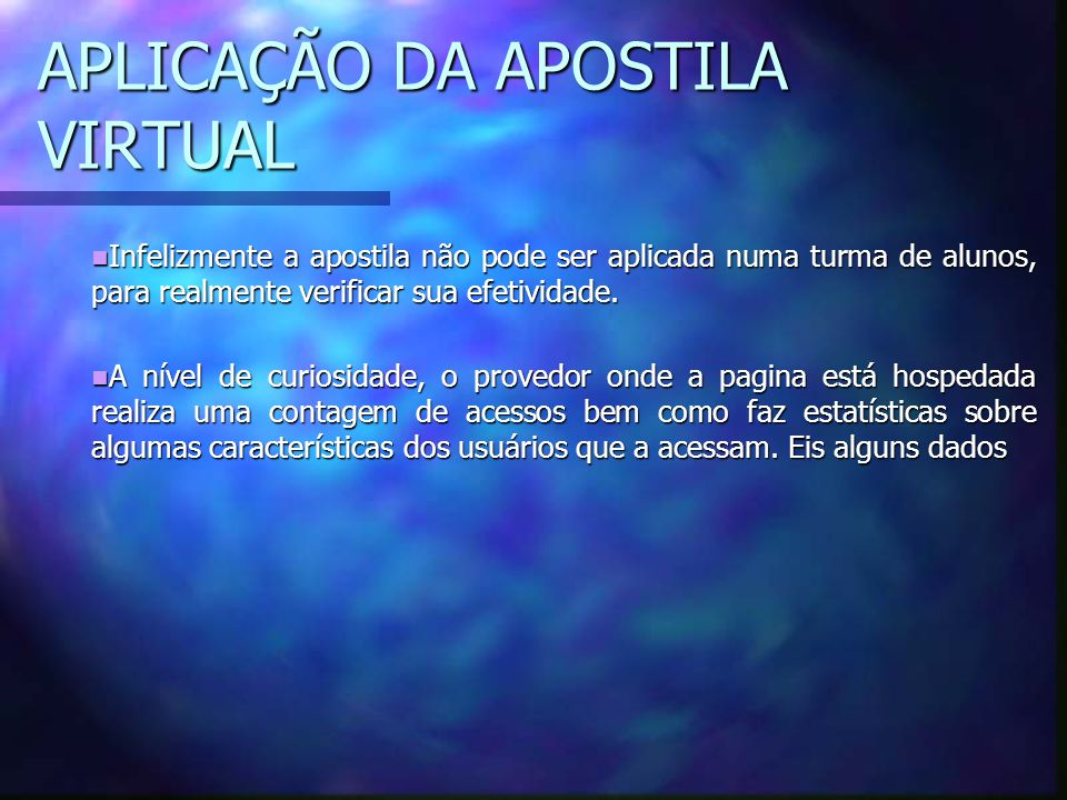 APLICAÇÃO DA APOSTILA VIRTUAL