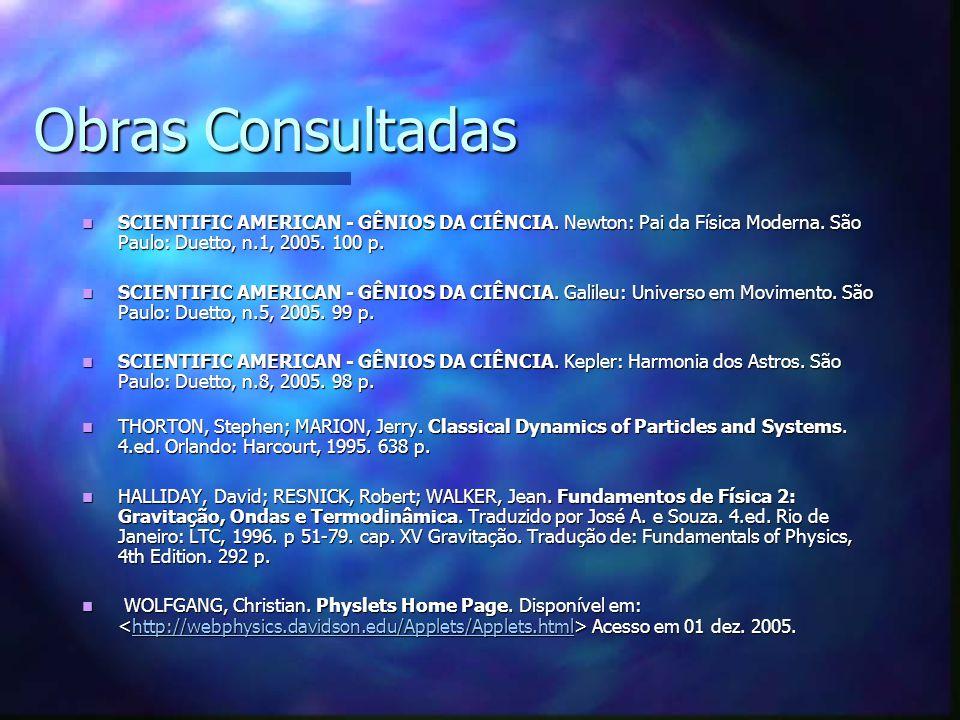 Obras Consultadas SCIENTIFIC AMERICAN - GÊNIOS DA CIÊNCIA. Newton: Pai da Física Moderna. São Paulo: Duetto, n.1, 2005. 100 p.