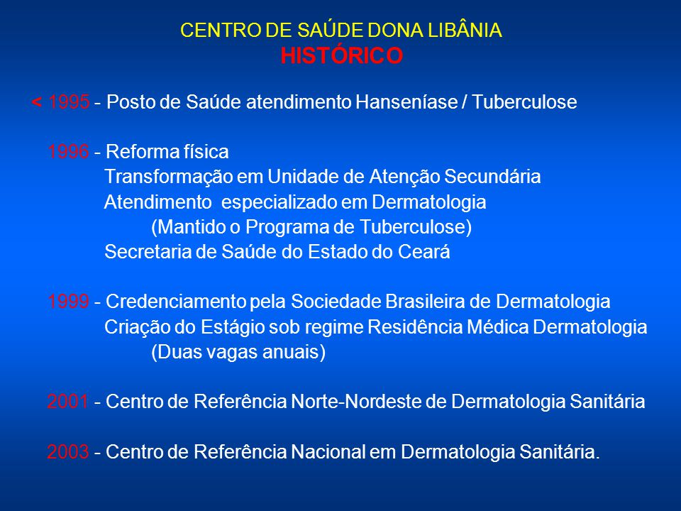 CENTRO DE SAÚDE DONA LIBÂNIA HISTÓRICO