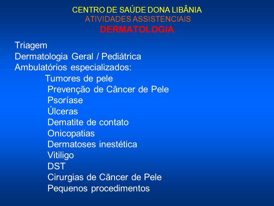 CENTRO DE SAÚDE DONA LIBÂNIA ATIVIDADES ASSISTENCIAIS DERMATOLOGIA