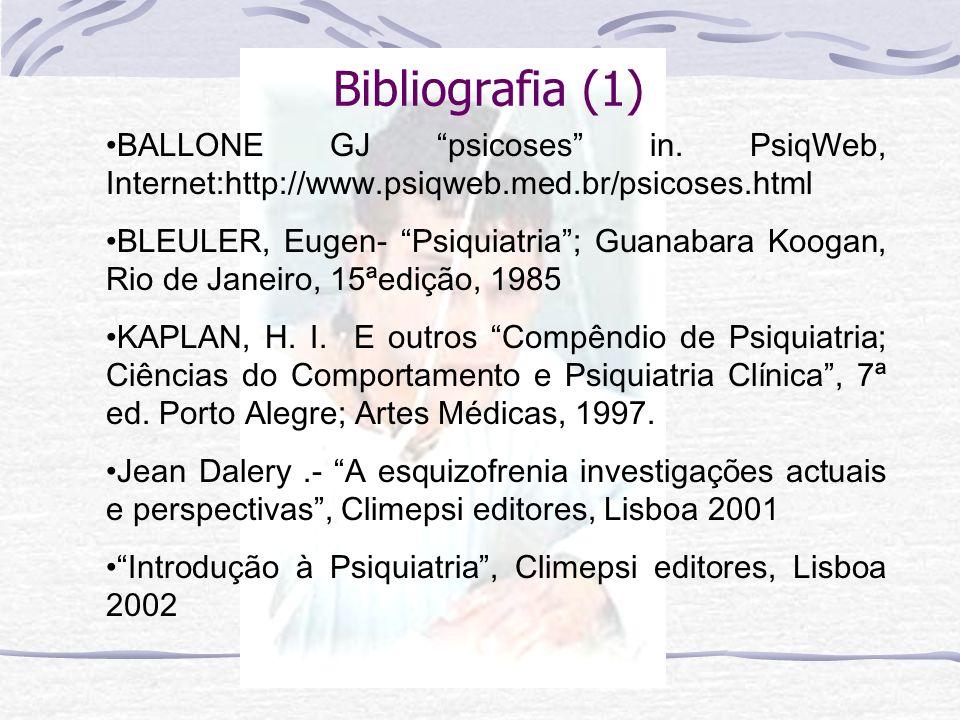 Bibliografia (1) BALLONE GJ psicoses in. PsiqWeb, Internet:http://www.psiqweb.med.br/psicoses.html.