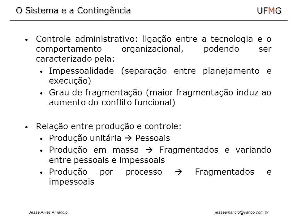 Controle administrativo: ligação entre a tecnologia e o comportamento organizacional, podendo ser caracterizado pela:
