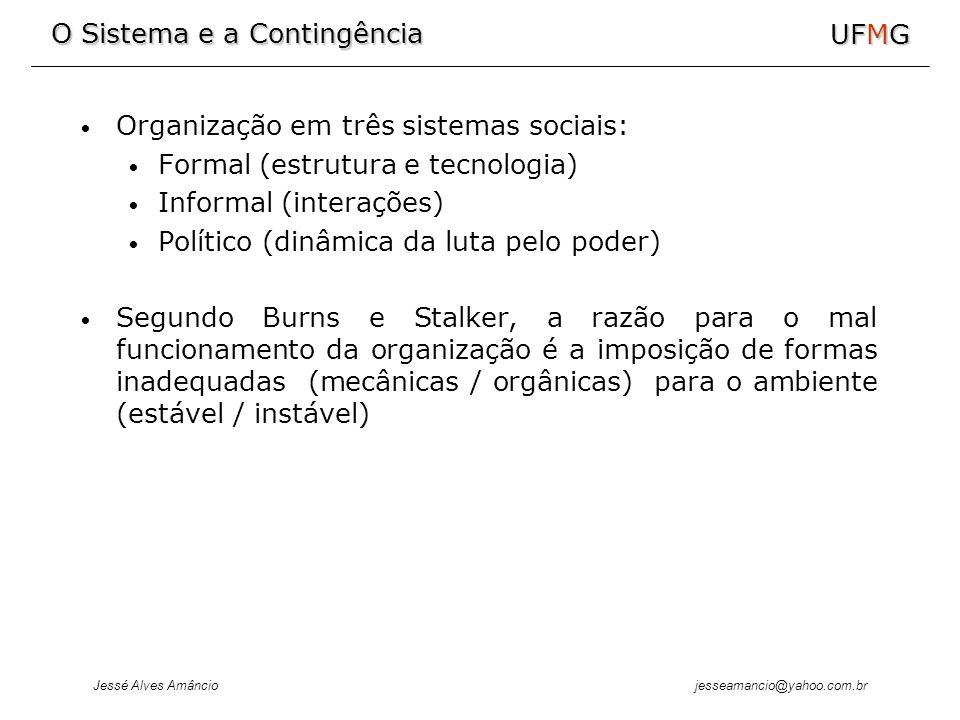 Organização em três sistemas sociais: