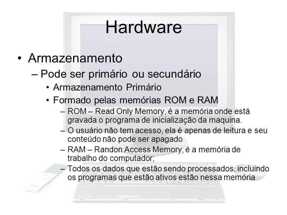Hardware Armazenamento Pode ser primário ou secundário